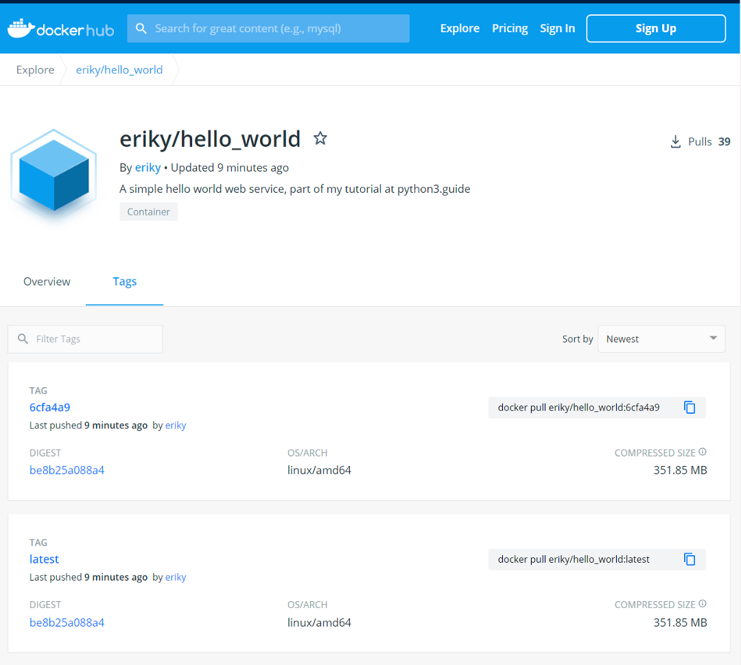 Our Python application, build and pushed to Docker Hub