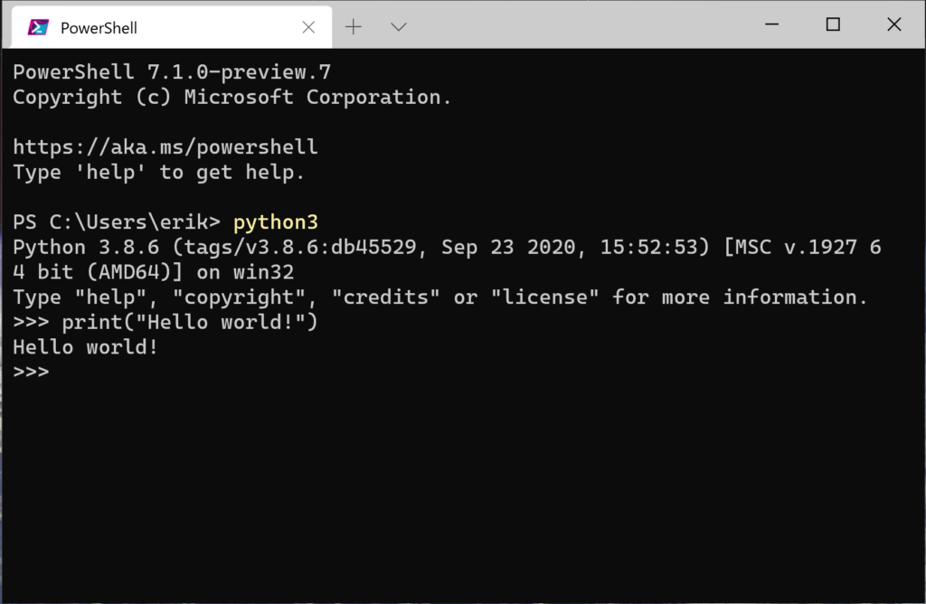 Python started from Windows PowerShell