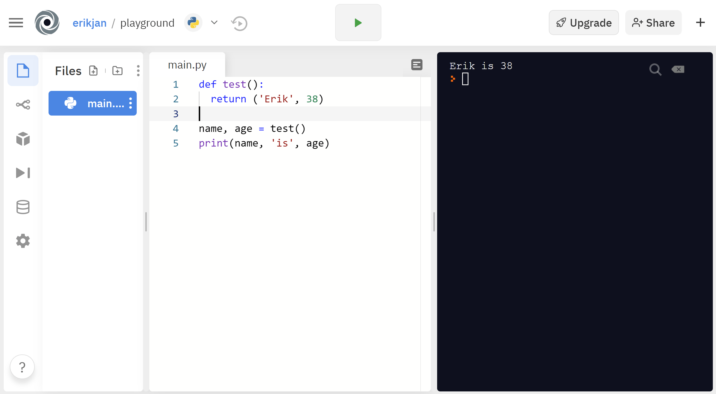 Repl.it offers you a complete Python IDE in the browser