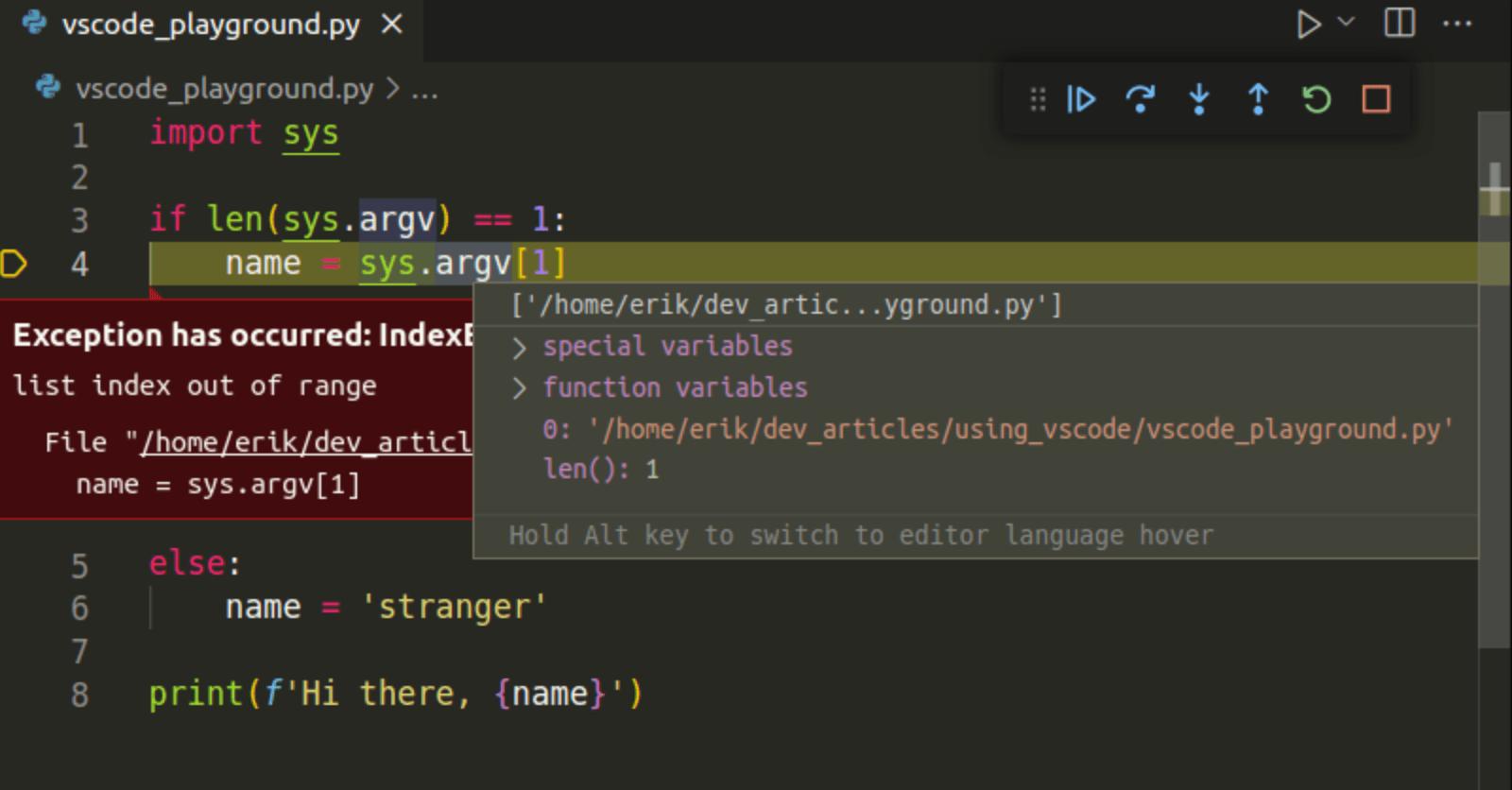 vscode debug python